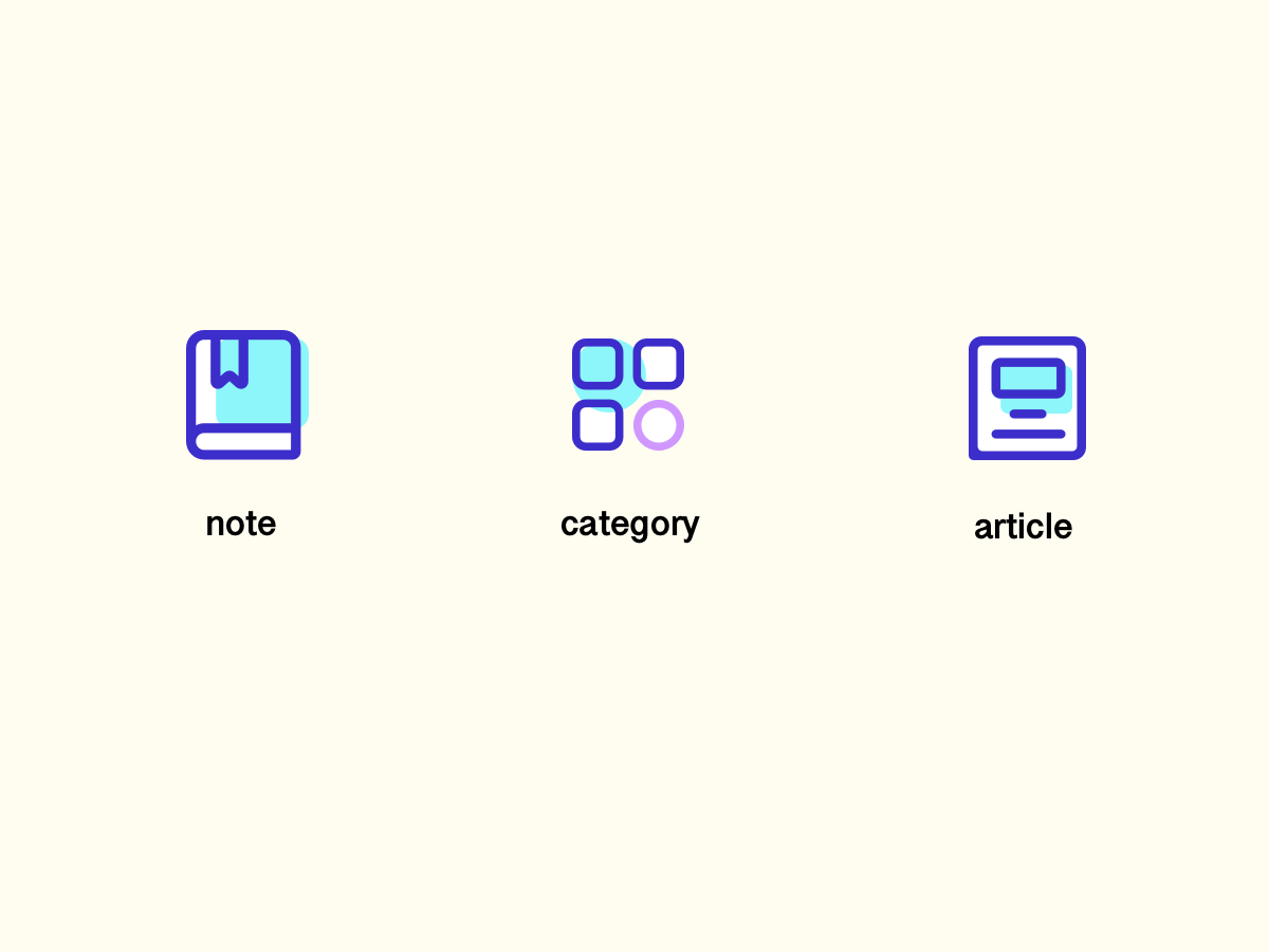 Icons article category note design icon ui
