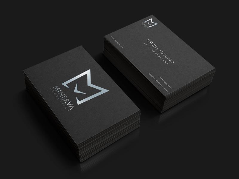 Minerva branding consulting logo business card