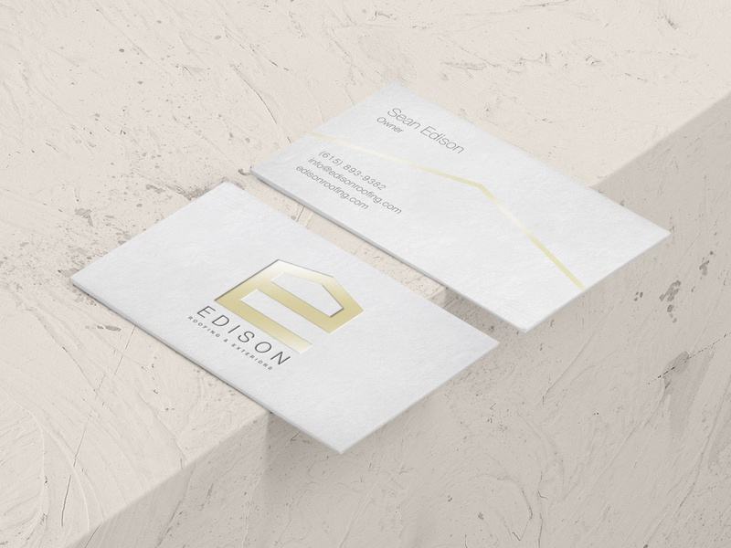 Edison Roofing and Exteriors design branding business card logo