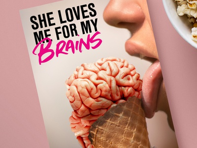 She Loves Me For My Brains funny fiction book art book cover zombie brains