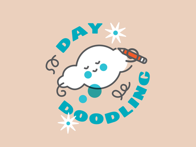 DAY DOODLING fun sketching squiggles squiggle branding logodesign thinking baby cute logo starship stars thoughts daydream daydreaming icons cloud doodle daydoodling doodling