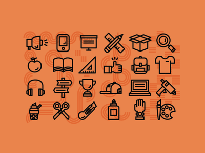 NCSU Design Lab Icon Set glue workshop ruler summer camp camp design lab design camp backpack headphones ice cream apple sketchbook magnify glass pencil box tshirt illustration illustrator icons icon set