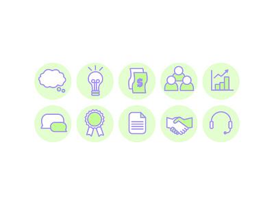 Comm-Icon-ation ribbon communication speech graph thinking handshake icon icons lightbulb cash business marketing