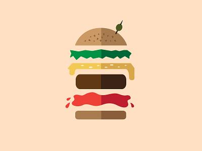 Saucy illustration lettuce calories patty ketchup topper olive buns burger
