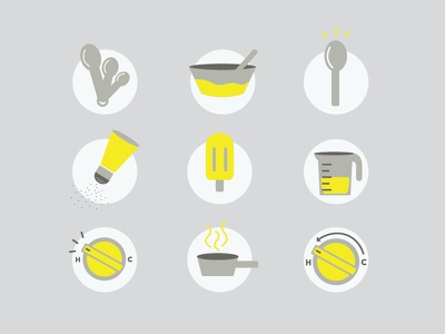Cooking up some icons pot temperature pepper illustration icon icons popsicle spoon cup measuring ingredients recipe