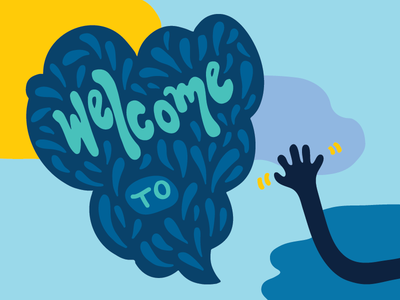Welcome! blue unc chapel hill clouds colorful welcome wave hand handdrawn speech bubble lettering type illustration
