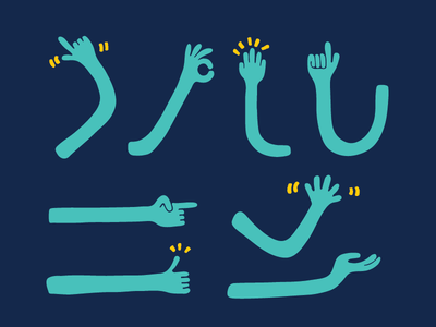 Hand Language wayfinding this way hello thumbs up stop pointing wave hands hand handdrawn illustration