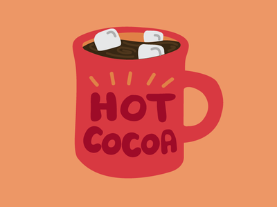 Holiday Hot Cocoa mug coffee drink chocolate hot cocoa marshmallows handdrawn lettering type illustration holiday