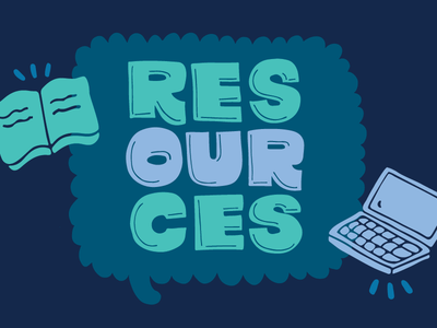 Our Resources type illustration lettering handlettering handwritten handdrawn speech bubble book laptop resources