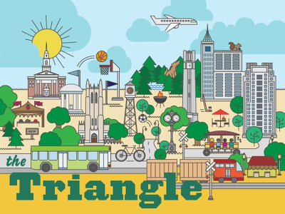 Research Triangle Park Illustration train buildings wolfpack north carolina chapel hill durham raleigh nature green landscape city skyline illustration