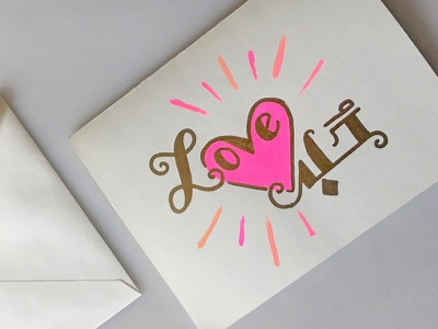 <3 valentine greeting handmade card pink heart love handlettering paint lettering