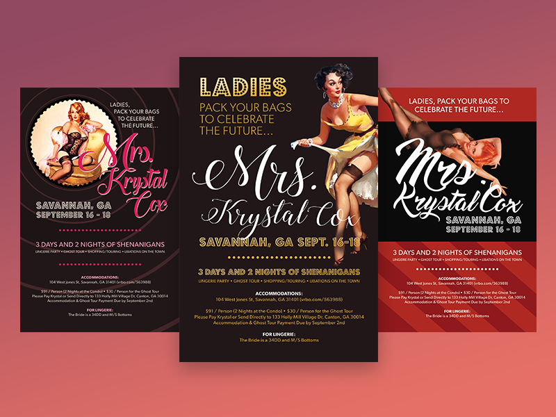 pinup bachelorette party invitations by molly mccarthy dribbble