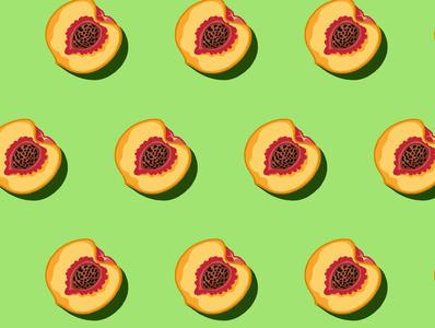 Peaches green peaches pattern design pattern art pattern fruit vector illustration adobe fresco illustration