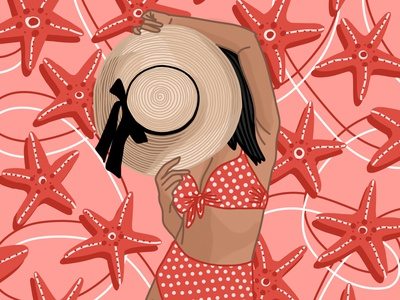 Starfish summer coral beauty strawhat polkadots swimsuit starfish sun hat beach vector illustration adobe fresco illustration