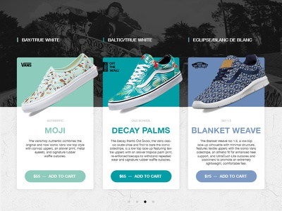 Ode to VANS interface design brand shoe love off the wall ode ui vans
