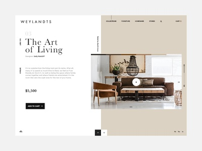 Interior Design Ecommerce Website lifestyle home interior design ux ui cream white ecommerce website clean