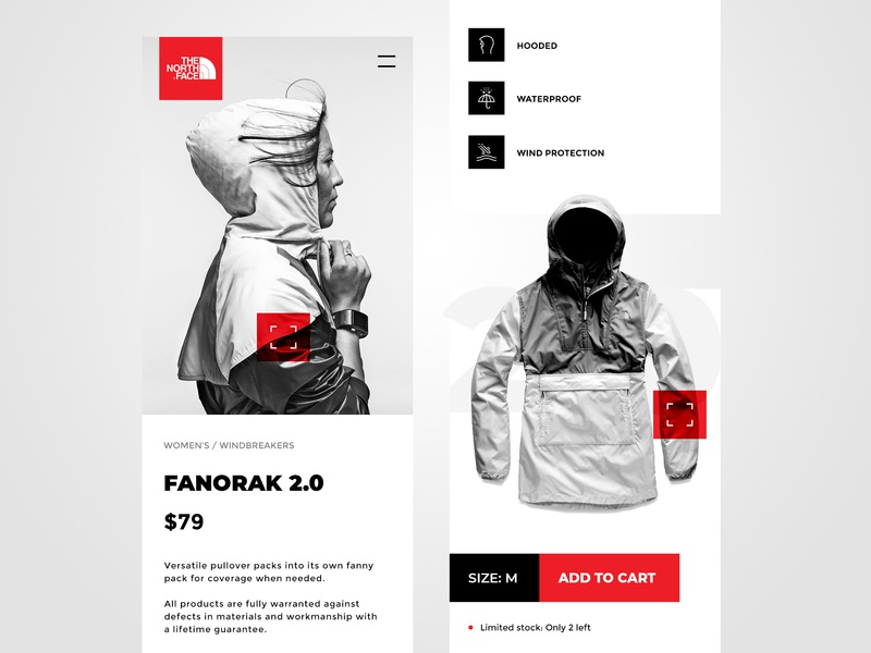 THE NORTH FACE Exploration apparel type interface design black gray white and black white redone ux ui  ux ui ecommerce mobile app mobile northface