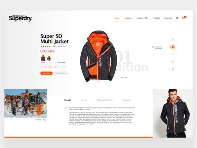 Superdry Ecommerce ux art direction clean apparel sport desktop uiux ui white grey orange ecommerce