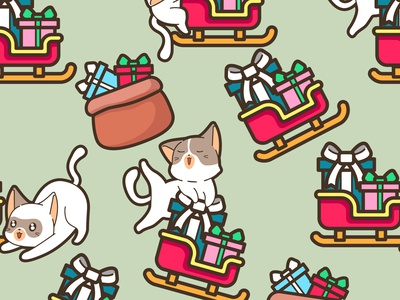Seamless cat with sleigh in Christmas day pattern christmas wall art funny cat cartoon character vector illustration cat christmas celebrations cat and sleigh christmas fabric seamless pattern christmas pattern cartoon