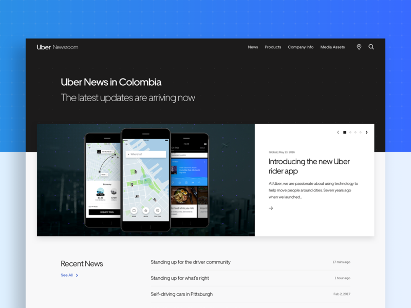 Uber Newsroom weekly ui typography portfolio ux ui uber design uber website web minimal homepage flat design clean