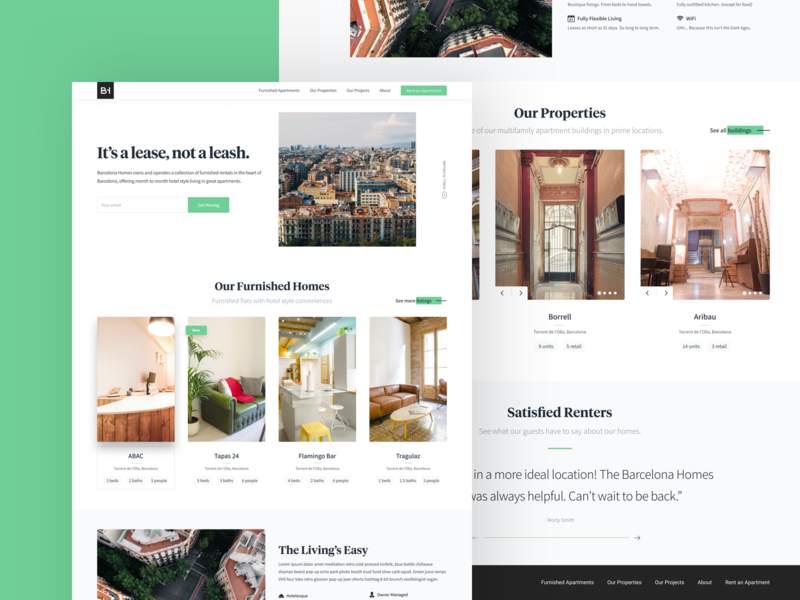 Barcelona Homes | Homepage branding web logo uidesign website landing page ux ui clean apartments booking barcelona kono