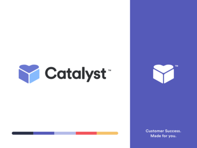Catalyst Brand Identity saas purple modern typogaphy minimal design customer success clean branding brand logo illustration happy flat