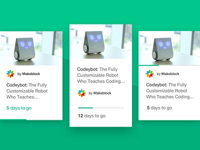 kickstarter project card explorations design ui
