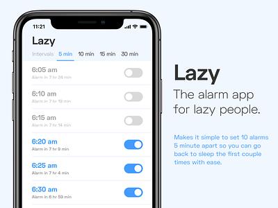 Lazy Alarm ux ui clock alarm app minimal ux design ui design