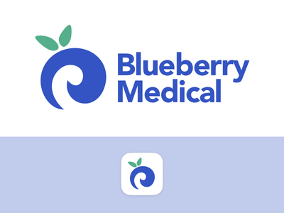 Blueberry Medical app icon branding healthcare medical blueberry icon fruit logo