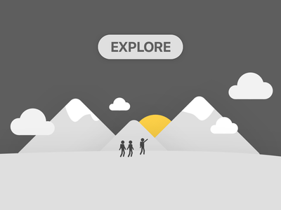 Explore Illustration cloud sun yellow explore graphic mountains sunrise illustration