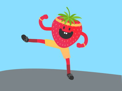 Fit Fruit fitness exercise drawing strawberry graphic illustration fruit