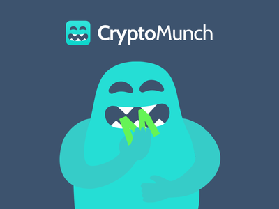The CryptoMuncher cryptocurrency crypto app branding delivery food cute mascot logo monster