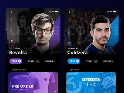 eSports Players Feed skgaming cblol csgo lol counterstrike leagueoflegends profile feed mobile interface esports uiux