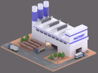Low poly Factory cute tiny factory blender low poly 3d