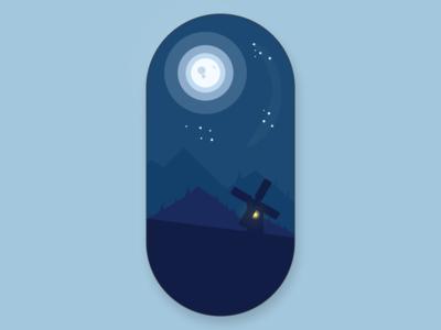 Calm night ipad 2d illustration
