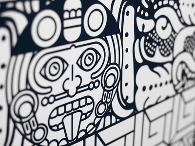 Mayan Coloring Mural 2
