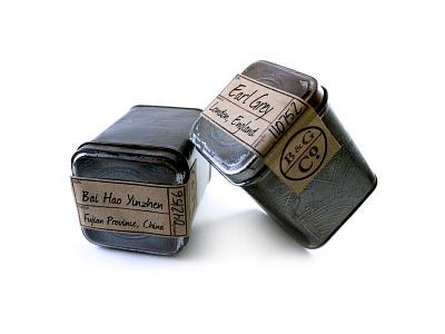 B & G Tea Tins product design distressed old world packaging tea