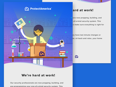 System Building Email Concept scientist email email campaign illustration home security