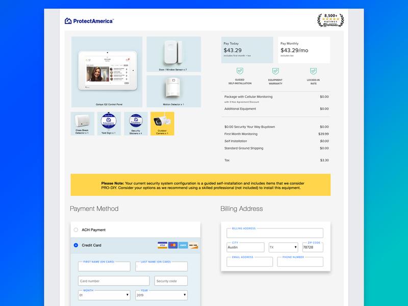 Payment Page Concept web design payments ux ui home security