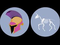 Helmet & Unicorn Skeleton