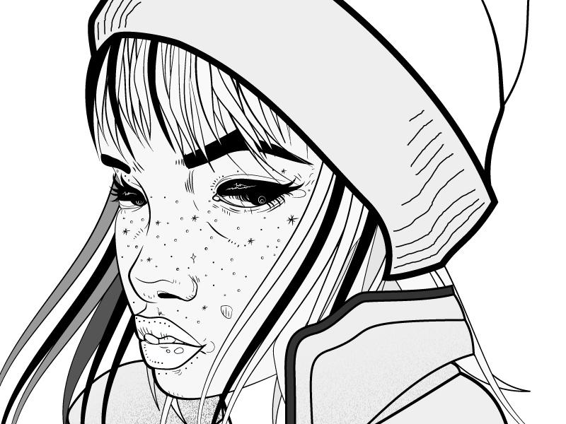 Portrait pencil tool face drawing hat girl illustrator portrait