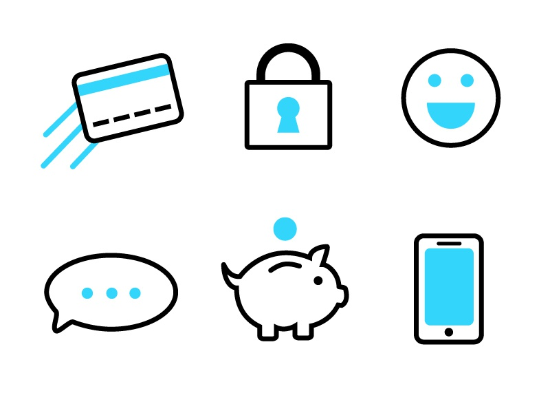 Mobile Icons - Part 2 strokes lines flat illustrator branding pizza technology iconography icons