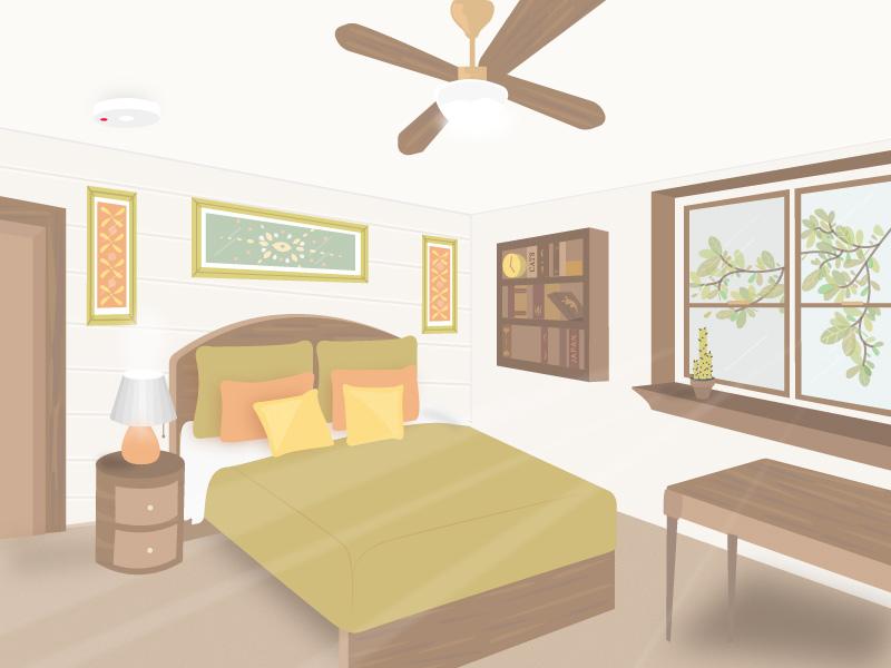 House Hacks perspective wood illustrator isometric green bedroom room house