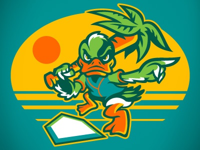 DUCKS palmtree baseball beach ducks