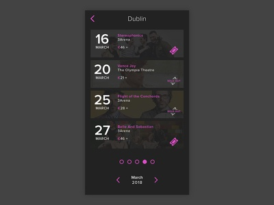 Daily UI #070 - Event Listing concerts daily ui user experience design user interface design ux calendar ui design ui events event listing