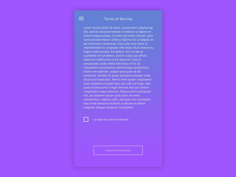 Daily UI #089 - Terms of Service accept terms declaration tc ui ux user interface design user experience design daily ui terms and conditions terms of service