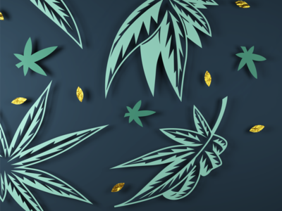 3D Fall Leaves green gold depth paper cutout thanksgiving render marijuana cannabis leaves autumn fall blender 3d