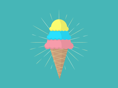 Superman Ice Cream sun rays winter icecream ice cream cone minimal illustration vector frozen seasonal rainbow summer michigan superman ice cream