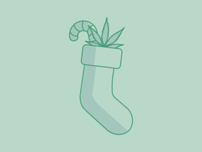 Happy Holidays! cannabis minimal vector holiday design winter festive stocking stuffers xmas candy cane marijuana pot weed christmas holiday stocking