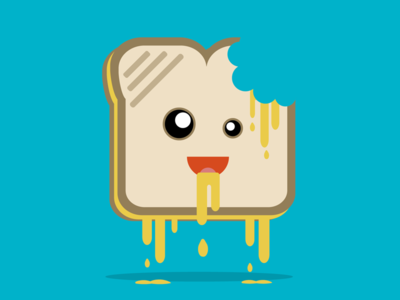 Grilled Cheezin fun crazy drool drip floating anthropomorphic illustration illustrator munchies cheesy cheese grilled cheese